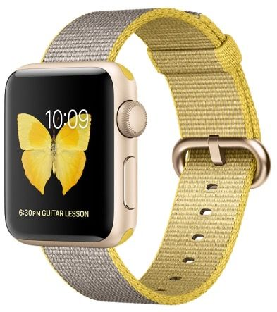 Apple Watch Series 2 38mm Gold Aluminum with Woven Nylon Yellow