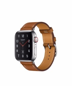 Apple Watch Series 4 Hermès 40mm Stainless Steel Case with Fauve Barenia Leather Single Tour (M