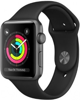 Apple Watch Series 3 42 mm Aluminum Case with Sport Band Black
