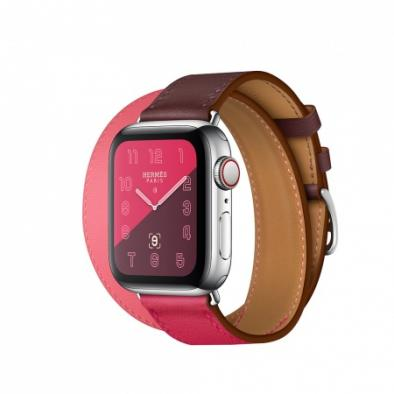 Apple Watch Series 4 Hermès 40mm Stainless Steel Case with Bordeaux/Rose Extrême/Rose Azal