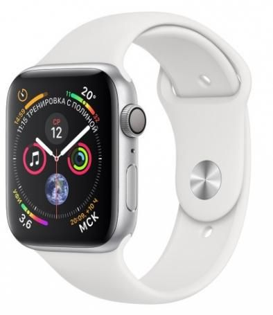 Apple Watch Series 4 44, мм серебристый алюминий, спортивный ремешок белого цвета