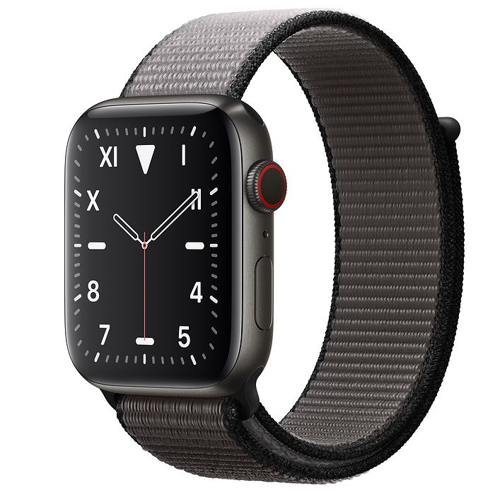 Apple Watch 5 44 mm Space Black Titanium Case with Anchor Gray Sport Loop
