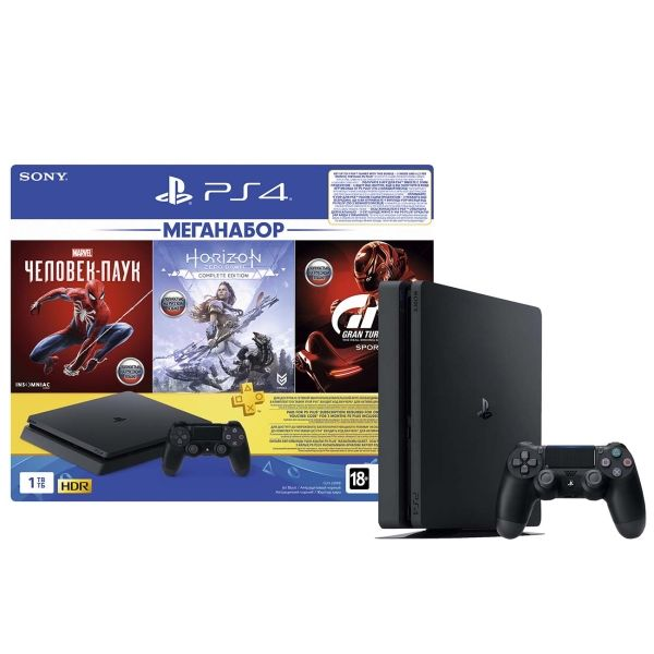 Игровая консоль PlayStation 4 Slim 1TB GTS/HZD/SpiderM/PS+ 3мес.