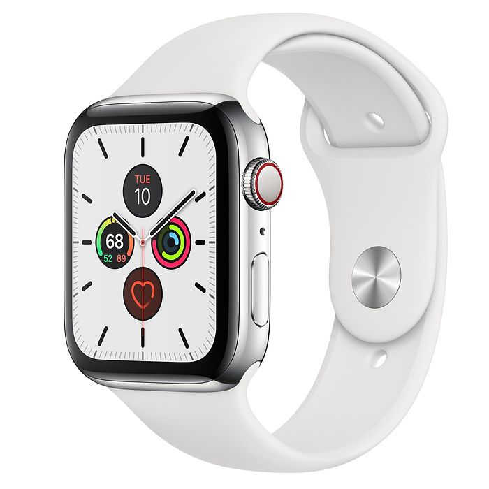 Apple Watch Series 5 44 mm Stainless Steel Case with White Sport Band